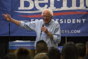 Presidential candidate Bernie Sanders at a campaign event
